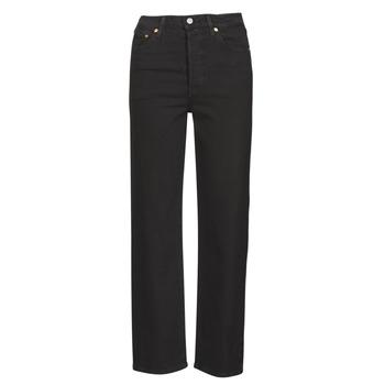 Oblačila Ženske Jeans straight Levi's RIBCAGE STRAIGHT ANKLE Črna