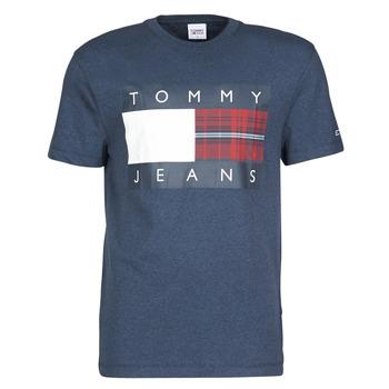 Oblačila Moški Majice s kratkimi rokavi Tommy Jeans TJM PLAID CENTRE FLAG TEE Modra
