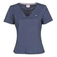 Oblačila Ženske Majice s kratkimi rokavi Tommy Jeans TJW SLIM JERSEY V NECK Modra
