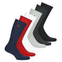 Dodatki  Moški Nogavice Polo Ralph Lauren ASX110 6 PACK COTTON Črna / Rdeča / Siva / Siva / Bela