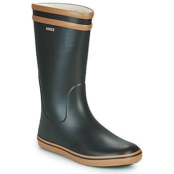 Čevlji  Ženske škornji za dež  Aigle MALOUINE Črna / Kamel
