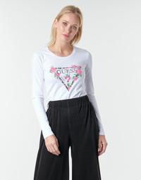 Oblačila Ženske Majice z dolgimi rokavi Guess LS CN VILMA TEE Bela
