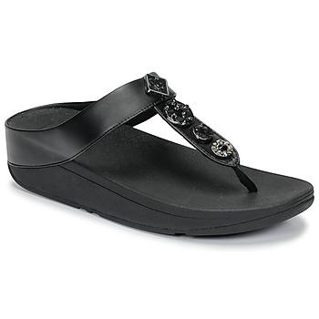 Čevlji  Ženske Japonke FitFlop FINO CIRCLE TOE-THONGS Črna
