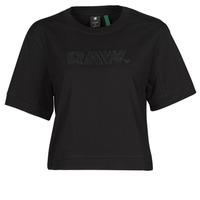 Oblačila Ženske Majice s kratkimi rokavi G-Star Raw BOXY FIT RAW EMBROIDERY TEE Črna