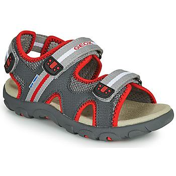 Čevlji  Otroci Sandali & Odprti čevlji Geox JR SANDALE STRADA Siva / Rdeča