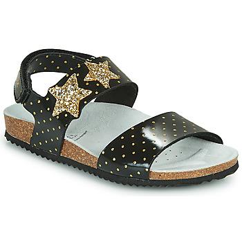 Čevlji  Deklice Sandali & Odprti čevlji Geox J ADRIEL GIRL Črna / Pozlačena