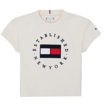 Oblačila Deklice Majice s kratkimi rokavi Tommy Hilfiger KG0KG05503-Z00-J Bež