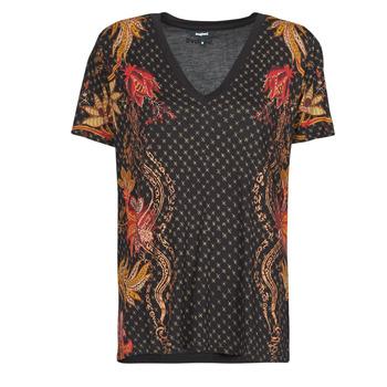 Oblačila Ženske Majice s kratkimi rokavi Desigual PRAGA Črna