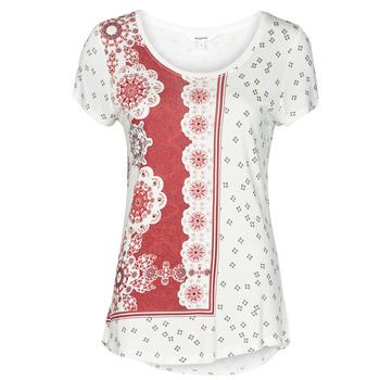 Oblačila Ženske Majice s kratkimi rokavi Desigual ESTAMBUL Bela