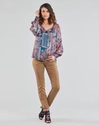 Oblačila Ženske Hlače s 5 žepi Cream LOTTE PRINTED Bež