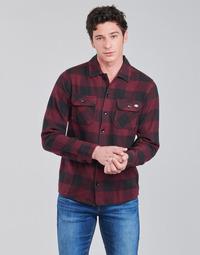 Oblačila Moški Srajce z dolgimi rokavi Dickies NEW SACRAMENTO SHIRT MAROON Bordo / Črna