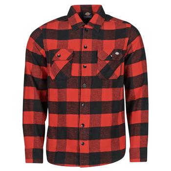 Oblačila Moški Srajce z dolgimi rokavi Dickies NEW SACRAMENTO SHIRT RED Rdeča / Črna