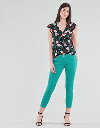 Oblačila Ženske Hlače s 5 žepi Freeman T.Porter ALEXA CROPPED NEW MAGIC COLOR Zeleno-modra / Zelená