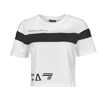 Oblačila Ženske Majice s kratkimi rokavi Emporio Armani EA7 3KTT05-TJ9ZZ-1100 Bela / Črna