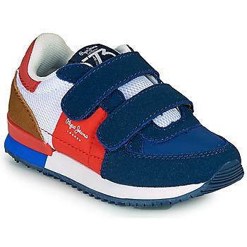 Čevlji  Dečki Nizke superge Pepe jeans SYDNEY TREND BOY KIDS SS21 Modra / Rdeča