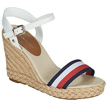 Čevlji  Ženske Sandali & Odprti čevlji Tommy Hilfiger SHIMMERY RIBBON HIGH WEDGE Bela