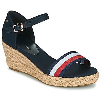 Čevlji  Ženske Sandali & Odprti čevlji Tommy Hilfiger SHIMMERY RIBBON MID WEDGE SANDAL Modra