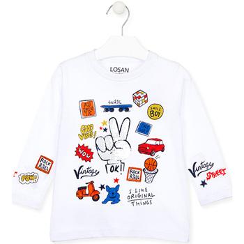 Oblačila Otroci Majice z dolgimi rokavi Losan 025-1026AL Biely