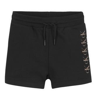 Oblačila Deklice Kratke hlače & Bermuda Calvin Klein Jeans CK REPEAT FOIL KNIT SHORTS Črna