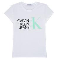 Oblačila Deklice Majice s kratkimi rokavi Calvin Klein Jeans HYBRID LOGO SLIM T-SHIRT Bela