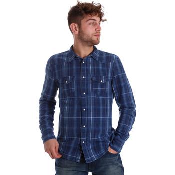 Oblačila Moški Srajce z dolgimi rokavi Gaudi 721BU46005 Modra