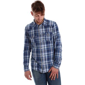 Oblačila Moški Srajce z dolgimi rokavi Gaudi 721BU46008 Modra