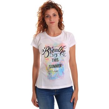 Oblačila Ženske Majice s kratkimi rokavi Key Up 5D59S 0001 Biely