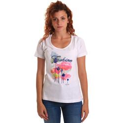 Oblačila Ženske Majice s kratkimi rokavi Key Up 5D58S 0001 Biely