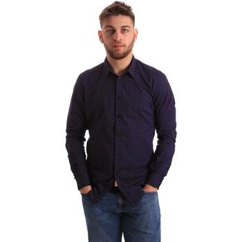 Oblačila Moški Srajce z dolgimi rokavi Gaudi 821BU45012 Modra