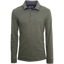 Oblačila Moški Polo majice dolgi rokavi NeroGiardini A972290U Zelena