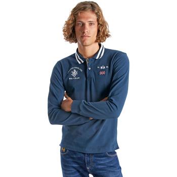 Oblačila Moški Polo majice dolgi rokavi La Martina OMP325 JS005 Modra