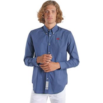 Oblačila Moški Srajce z dolgimi rokavi La Martina OMC015 PP461 Modra