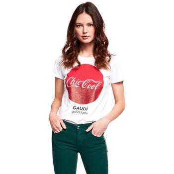 Oblačila Ženske Majice s kratkimi rokavi Gaudi 921BD64047 Biely