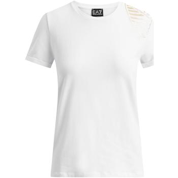 Oblačila Ženske Majice s kratkimi rokavi Ea7 Emporio Armani 6GTT07 TJ12Z Biely