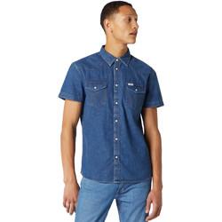 Oblačila Moški Srajce s kratkimi rokavi Wrangler W5J05D50B Modra