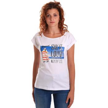 Oblačila Ženske Majice s kratkimi rokavi Key Up 5D72S 0001 Biely