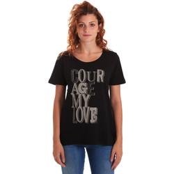 Oblačila Ženske Majice s kratkimi rokavi Key Up 5Z19S 0001 Črna