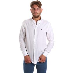 Oblačila Moški Srajce z dolgimi rokavi Les Copains 9U2371 Biely