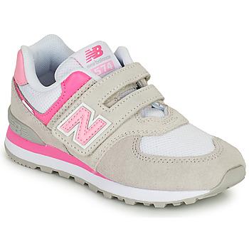 Čevlji  Deklice Nizke superge New Balance 574 Siva / Rožnata