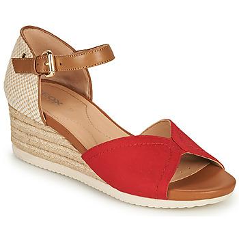 Čevlji  Ženske Sandali & Odprti čevlji Geox D ISCHIA CORDA D Rdeča / Cognac