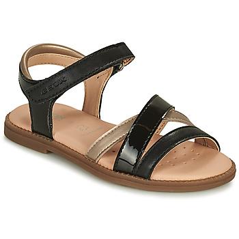 Čevlji  Deklice Sandali & Odprti čevlji Geox SANDAL KARLY GIRL Črna / Pozlačena