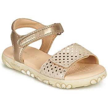 Čevlji  Deklice Sandali & Odprti čevlji Geox SANDAL HAITI GIRL Bež / Pozlačena