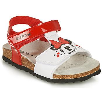 Čevlji  Deklice Sandali & Odprti čevlji Geox SANDAL CHALKI GIRL Rdeča / Bela