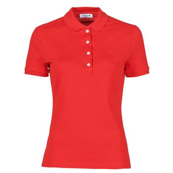 Oblačila Ženske Polo majice kratki rokavi Lacoste POLO SLIM FIT Rdeča