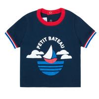 Oblačila Dečki Majice s kratkimi rokavi Petit Bateau MENU Modra