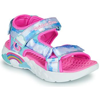 Čevlji  Deklice Športni sandali Skechers RAINBOW RACER Srebrna / Rožnata