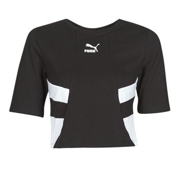 Oblačila Ženske Majice s kratkimi rokavi Puma RETRO FROPnTOP Črna