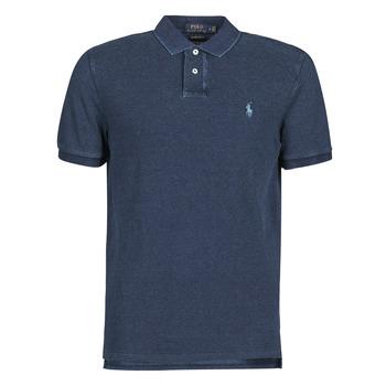 Oblačila Moški Polo majice kratki rokavi Polo Ralph Lauren POLO AJUSTE DROIT EN COTON BASIC Modra