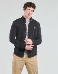 Oblačila Moški Srajce z dolgimi rokavi Polo Ralph Lauren CHEMISE AJUSTEE COL BOUTONNE EN POLO FEATHERWEIGHT LOGO PONY PLA Črna