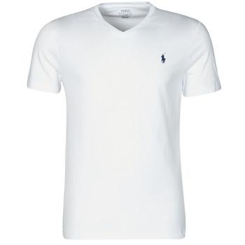 Oblačila Moški Majice s kratkimi rokavi Polo Ralph Lauren T-SHIRT AJUSTE COL V EN COTON LOGO PONY PLAYER Bela